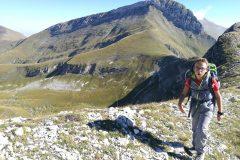 Alessio a salire verso il Monte Bove Sud
