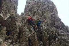 Alessio e Daniele tra le rocce della ferrata Santner